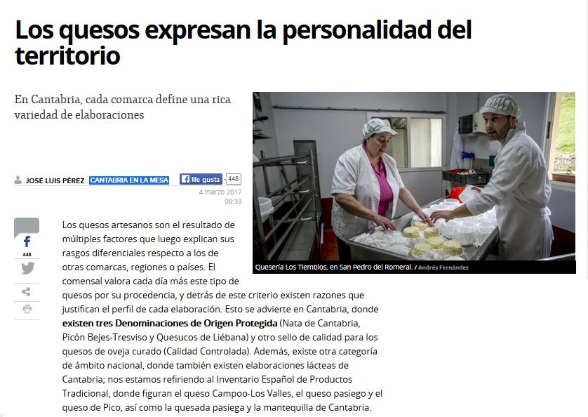 Artículo de El Diario Montañés sobre quesos de Cantabria.